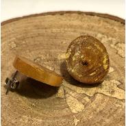 Brinco Pedra Dourada Artesanal Em Madeira - Rabisco Meu