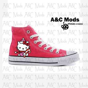 Converse Hello Kitty Caramelo Navidad Rosa Pintado A Mano