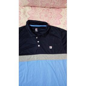 Camisa Polo Fila Block Melange Azul  Marinho  Cinza Barato 6043120f6ca23