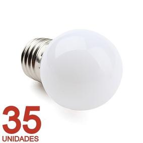 35 Lâmpada Led Bolinha 1w 127v Branco Quente Camarim Varal