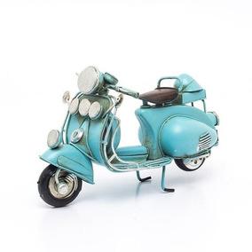 Scooter Azul Miniatura De Metal Ref:140 Vespa Lambreta