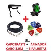 Kit Capotraste + Afinador Clip + Cabo P10 3,0m  + 6 Palhetas