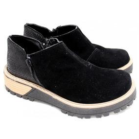Zapato Mujer Cuero Gamuzado Con Base Combinada Color Negro