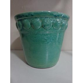 Vaso Cachepot Cachepo Cerâmica Esmaltada 19,5 Cm Turquesa