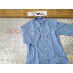 Camisa De Uniforme Dama Manga 3/4 En Oxford Azul Cielo T-l
