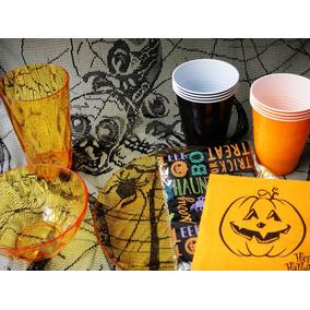 Halloween Kit Fiesta Dulcero Vaso Mantel Botanero Servilleta