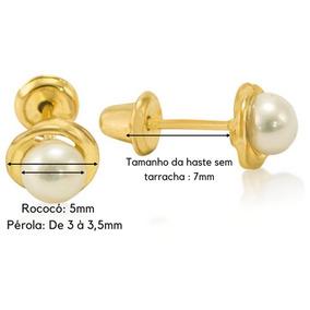 Barato Brinco Ouro Segundo Furo Infantil De Perola 3,5mm