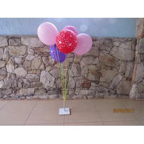 2 Suportes Balões Mesa Ou Chão 8 Balões 90cm Altura
