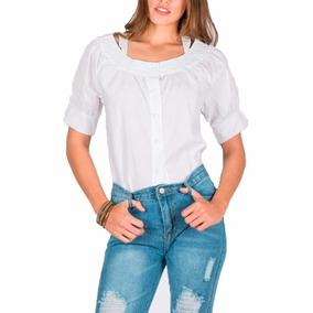 Blusa Con Botones Y Diseño En Escote M/l 12 Ctas 1700