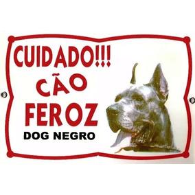 Placa De Advertência Dog Alemão Negro. Fixação Obrigatória.