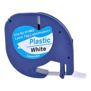 Fita Plástica Compatível Dymo Letratag 12mm Branca 91201
