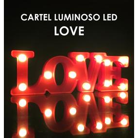 Cartel Luminoso Love Velador Luz Led Cálida Decoración