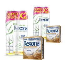 Rexona Desodorante Mujer Bamboo + Jabón Avena Tripack