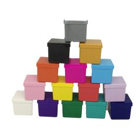 100 Caixinha Acrilica Plastica 4x4 Colorida Sólida