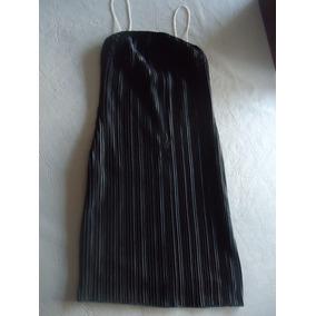 Vestido De Fiesta Plisado Breteles De Canutillos 1 Sólo Uso!