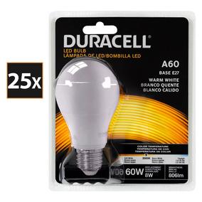 Kit Com 25 Lâmpadas De Led, Duracell Bulbo 8w - Amarela
