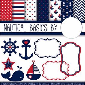 Kit Digital Imprimible Nautico Marinero Navy Fondos Clipart