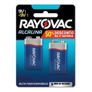 02 Pilhas Bateria 9v Alcalina Rayovac
