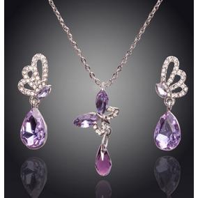 Dije Collar Aretes Mariposa Cristal Swarov Elements Boda