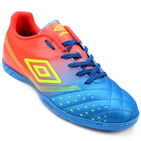 Tenis Umbro Futsal Fifty Adulto Azul/coral - Original + Nf