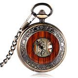 Reloj De Bolsillo Mecánico De Madera De Bronce De La Vend...