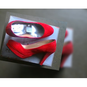 Zapatos Dama Tacones Rojos De Gamuza Elegantes Oferta