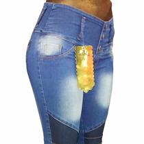 Pantalon Jeans Elastizado Chupin Para Mujer Cintura Alta