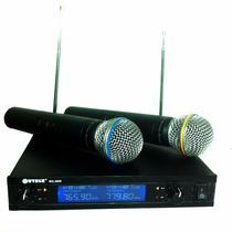 Microfone S/ Fio Duplo Profissional Uhf Wg 2009 Karaoke A-11