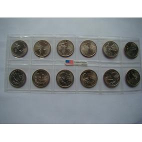 Set Completo Moedas Quarter Dollar Territórios P E D Fc