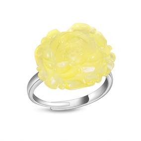 1158075fa3ab Anillo De Plata Pura Con Cristales Color Ambar Flores - Anillos en ...