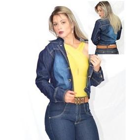 Jaqueta Jaquetinha Casaco Jeans Feminino Azul