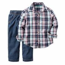Conjunto Carters Menino Jeans Calça Camisa Azul E Preto