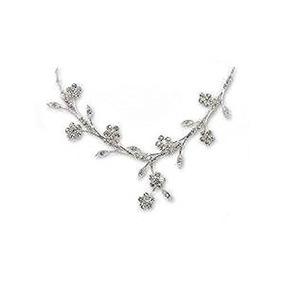 Collar De Plata De La Fantasía De La Flor; Pendiente Conjun