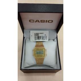 Relógio Casio Unissex A168 Retrô Dourado Nvoriginal Garantia