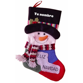 Bota Navideña Muñeco De Nieve, Santa Claus, Bordada