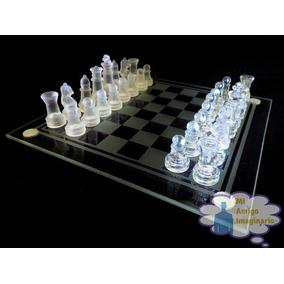 Ajedrez Cristal Vidrio Grande Con Tablero 26 X 26