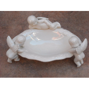 Jabonera Con Angelitos Importada Estilo Antiguo En Porcelana
