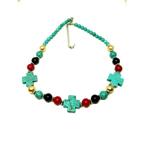 9ffe8f51a388 Collar Vintage Turquesa Con Perlas Y Jade