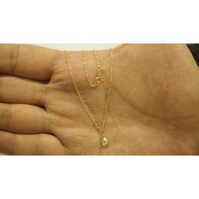 Corrente Ouro Feminina 18k Gargantilha 45cm Ponto De Luz