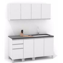 Mueble De Cocina 1,60 Mts Manijas J Aluminio Melamina