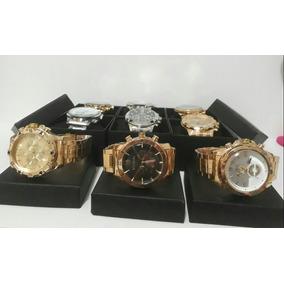 Kit Com 5 Relógios Masculino Dourado + Caixa Atacado Revenda