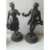 Par De Estatuas De Petit Bronce Francesas Antiguas 44 Cm