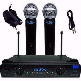 Microfone Leson Sem Fio Duplo De Mão U H F Ls-902 Original