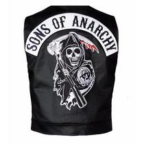 Chaleco Cuero Sintetetico Motoquero Sons Of Anarchy - Enki