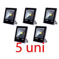 Kit 5 Refletor Led Holofote Para Fachada 20w