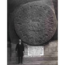 Lienzo Tela Fotografía Porfirio Díaz Y Calendario Azteca
