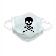 Mascara De Tecido Lavável Não Descartável Caveira Perigo