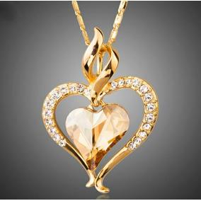 Dije Corazón 0ro 18kt Cristal Swarovski Corte Diamante Mujer