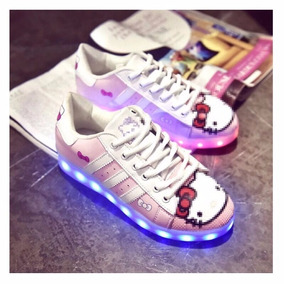 Zapatillas Con Luces Led 7 Colores Mujer Hello Kitty