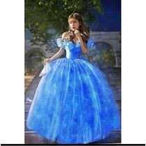Lindo Vestido Azul Debutante Cinderela Baile Princesa